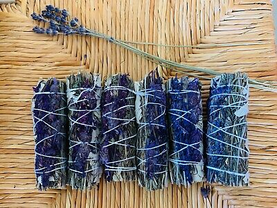 "White Sage Smudge Stick, Floral Lavender Sage Bundle Sage Wand, 4"" to 5"""