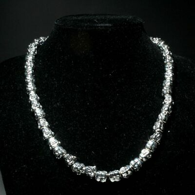 Collectable Miao Silver Handwork Carve Lovely Delicate Buddha Head Chic Necklace