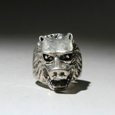 Collectable China Handwork Old Miao Silver Carve Wolf Interesting Exorcism Ring