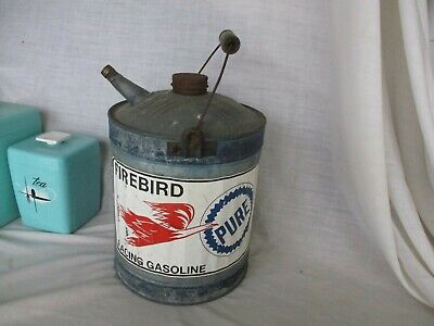 PURE Firebird Racing Gasoline Vintage WOOD HANDLE Galvanized Gas Can Gallon