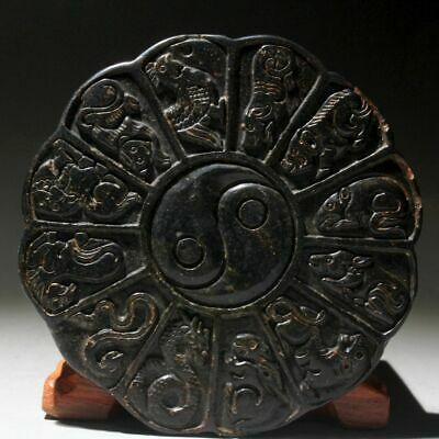 Collectable Chinese Jade Handwork Hand-Carved Zodiac Exorcism Auspicious Pendant