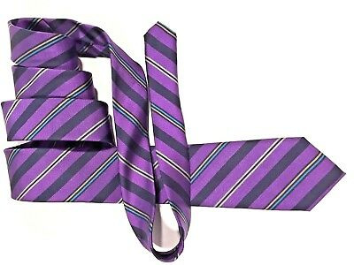 BEN SHERMAN Classic Mens Black Purple White Striped Silk Tie RRP £35 /> BNWT