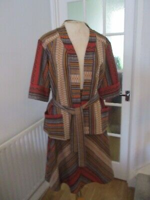VTG 60s 70s BROWN ORANGE STRIPED PATTERNED A-LINE SKIRT JACKET TOP SUIT 14-16