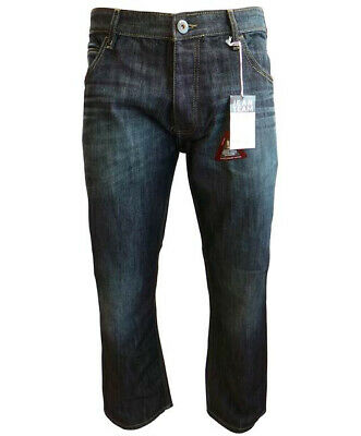 Mens Jeans 32W 34L Long Relaxed Loose Fit Dark Denim Trouser For Boys