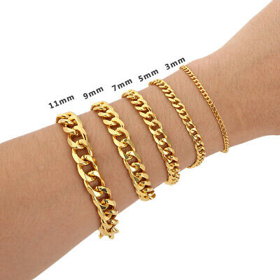 Gold Plated Mens Cuban Link Bracelet High Quality Stainless Steel Bangle 8.6inch
