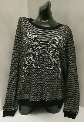 The Kooples Sport Black & White Tiger Slouch Wool Knitted Jumper Top Xl X Large