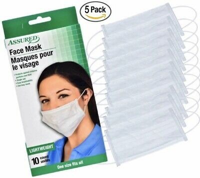 50 PCS Disposable Face Mask Surgical Medical Dental Industrial Flu 3-Ply Earloop