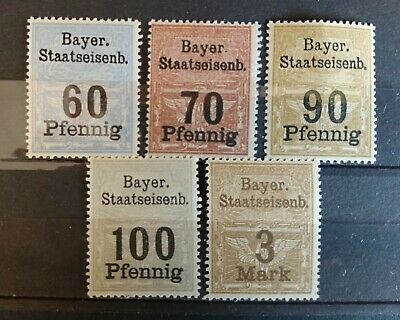 set of 5 mint Bavarian railway stamps