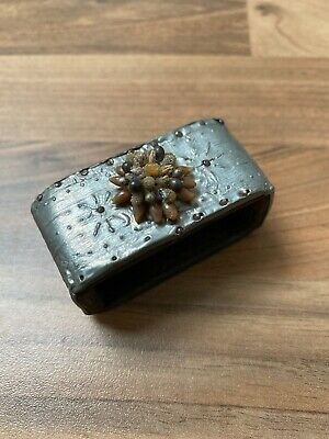 Antique Arts And Crafts Hammered Pewter & Wood Napkin Ring