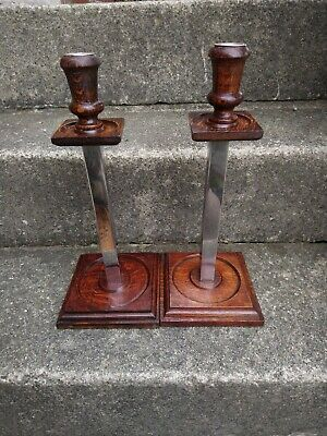Pair of Art Deco Oak And Chrome Candle Holders