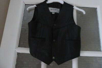 Boys Black Leather Waistcoat - Age 8 years - Goby