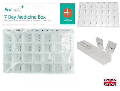 Weekly Pill Box Daily Organiser Medicine Tablet Storage Dispenser 7 Day Week UK