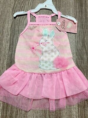 Hello Easter Dog Bunny Pink Dress SMALL