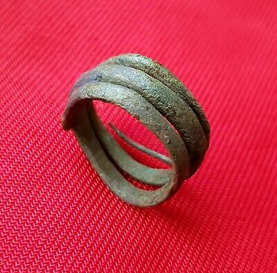 La Tene period ANCIENT CELTIC BRONZE COILED SNAKE RING