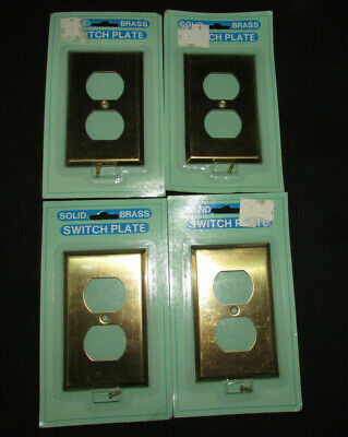 Solid Brass Wall Outlet Switch Plate Covers Lot Of 5