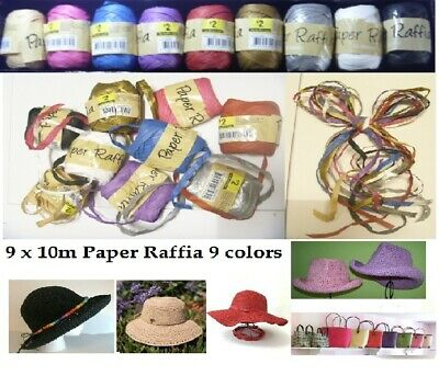 9 x 10m Raffia Ribbon Gifts Wrapping Crafts Scrapbooks Party Wedding Decorating