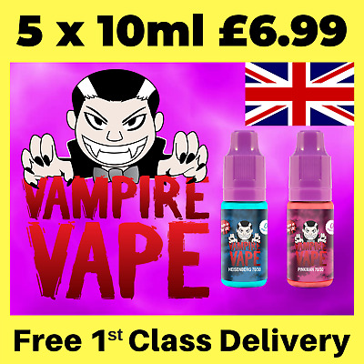 Vampire Vape E-Liquid 5 x 10ml, Heisenberg, Blackjack, Ice menthol, Dawn ejuice