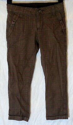 Girls Gap Brown Gold Sparkly Thread Pink Check Smart Party Trousers Age 7 Years