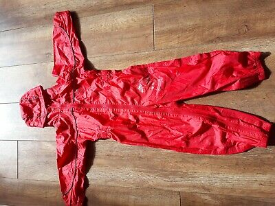 REGATTA KIDS PUDDLE SUIT RED; BREATHABLE WATERPROOF ALL IN ONE RAINSUIT 4-5 y