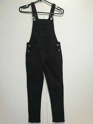 H602 Girls Primark Faded Black Skinny Denim Dungarees Age 8-9 Yrs W25 L23