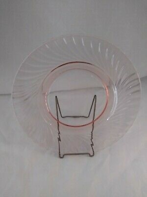 Swirl Pattern Pink Depression Glass Snack or Luncheon Plates