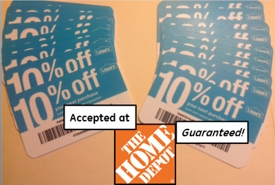 (20x) GUARANTEED 10% Off HOME DEPOT ONLY DECEMBER 2020 Blue Card COUPONS Lowes
