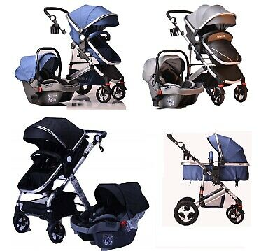 3 in1 Newborn Baby Pram Car Seat Pushchair Travel System Buggy Stroller