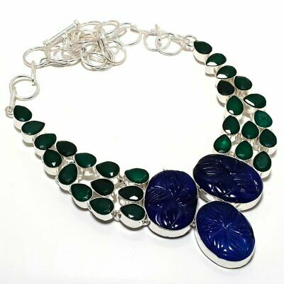 "Carved Blue Sapphire, Emerald Gemstone 925 Sterling Silver Necklace 18"" PQ-1473"
