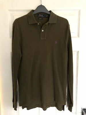 Polo By Ralph Lauren Men's Long Sleeve Polo Shirt Olive Green Small S Custom Fit