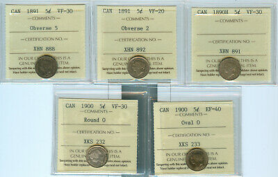 Collection of ICCS Certified Victorian, Edward & George V 5 Cents Part 2