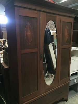 Antique Double Wardrobe Armoire Marquetry Detail With Drawer     11/2/L