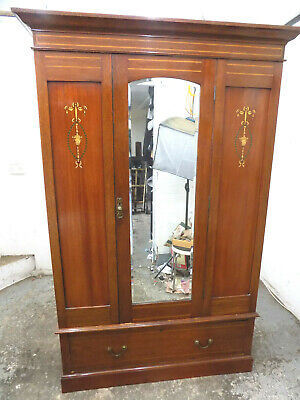 inlaid,mahogany,wardrobe,drawer,bedroom,mirrored door,hanging,antique,edwardian
