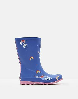 Joules Girls Roll Up Wellies - BLUE UNICORN CLOUDS Size Childrens 11