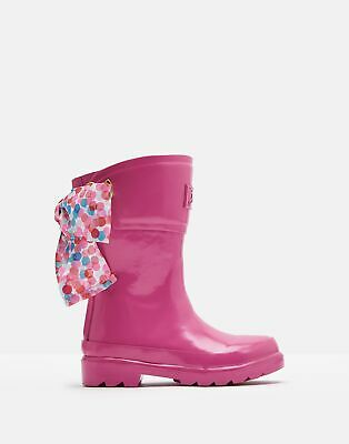 Joules Girls Bow Wellies - TRULY PINK Size Childrens 9