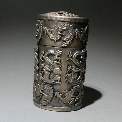 Collection China Old Miao Silver Hand-Carved Vivid Dragon Delicate Toothpick Box