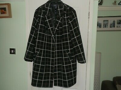 Marks & Spencer Collection Curve Uk28 Black mix Cotton Rich Coat, New with label