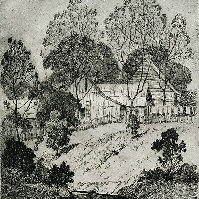 Vintage Arts & Crafts etching print Brown County listed Mission Stickley era