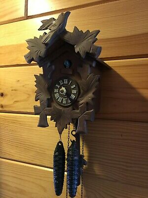 Pre-Owned Small Black Forest Cuckoo Clock Needs Hands,Oiling,Adjustments,Nice
