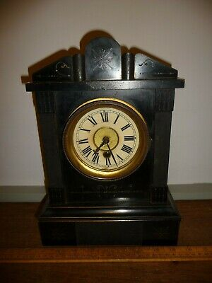 Antique HAC wood cased mantel clock . Brass Movement .Running - Key and Pendulum