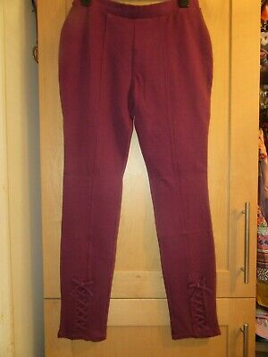 BNWT NEXT GIRLS AGE 14 YEARS MAROON RED LEGGINGS  shoe lace bow detail