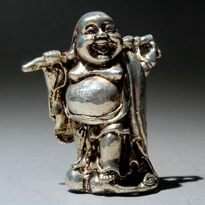 Collectable China Old Miao Silver Carve Paunchy Buddha Interesting Unique Statue