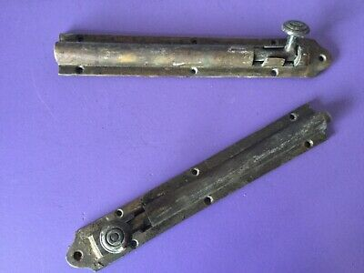 Pair. Large Antique Brass Slide Bolts. Heavy