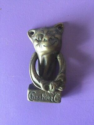 Vintage Brass Door Knocker. Cheshire Cat