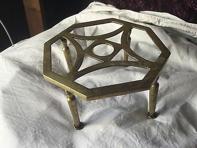 Antique Quality Brass Trivet. T Pot, Kettle Stand
