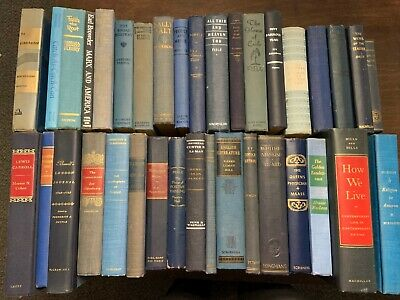 Lot 5 BLUE/ Shades of BLUE Old Vintage Antique Decor Hardcover Random Books