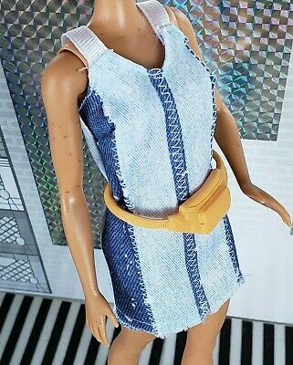 Barbie Doll Clothes Outfit Fashionista Denim Jumper Dress Yellow Fanny Hip Pack