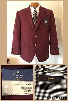 NWT!! Stafford Executive Suit Jacket Burgundy Classic Fit 46 Short Gold Button
