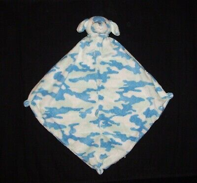 Angel Dear Blue Camo Puppy Dog Baby Blanket Camouflage Sewn Corners Lovey