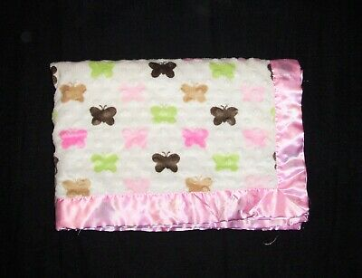 Itty Bitty Butterfly Baby Blanket Pink Brown Green Minky Dot Satin Trim