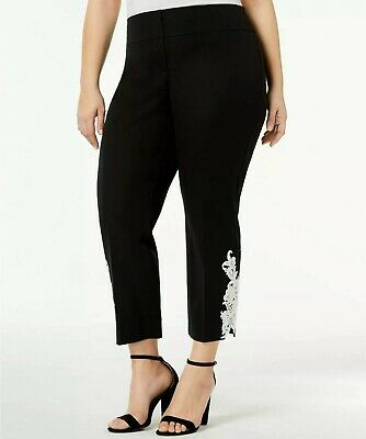 Alfani Women Plus Size Mom's Day Tummy Control Black Ankle Pants White Hem Lace